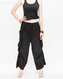 Loose Fit Capri Cropped Harem Pants Large Oversize Side Pockets Drape Winglets Airy Comfy Smart Casual Trousers Black front