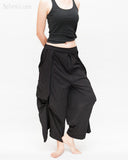 Loose Fit Capri Cropped Harem Pants Large Oversize Side Pockets Drape Winglets Airy Comfy Smart Casual Trousers Black side