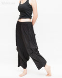 Loose Fit Capri Cropped Harem Pants Large Oversize Side Pockets Drape Winglets Airy Comfy Smart Casual Trousers Black walk