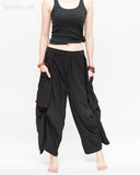 Loose Fit Capri Cropped Harem Pants Large Oversize Side Pockets Drape Winglets Airy Comfy Smart Casual Trousers Black wide
