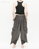 Loose Fit Capri Cropped Harem Pants Large Oversize Side Pockets Drape Winglets Airy Comfy Smart Casual Trousers Charcoal back