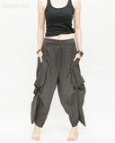 Loose Fit Capri Cropped Harem Pants Large Oversize Side Pockets Drape Winglets Airy Comfy Smart Casual Trousers Charcoal front