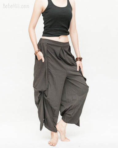 Loose Fit Capri Cropped Harem Pants Large Oversize Side Pockets Drape Winglets Airy Comfy Smart Casual Trousers Charcoal relax