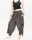 Loose Fit Capri Cropped Harem Pants Large Oversize Side Pockets Drape Winglets Airy Comfy Smart Casual Trousers Charcoal side