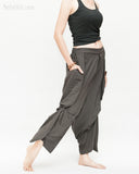Loose Fit Capri Cropped Harem Pants Large Oversize Side Pockets Drape Winglets Airy Comfy Smart Casual Trousers Charcoal walk