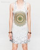 Mandala Paisley sexy mini dress soft cotton polyester blend white green psychedelic vision design yoga sporty solid black racer back front