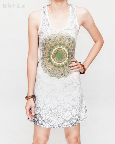 Mandala Paisley sexy mini dress soft cotton polyester blend white green psychedelic vision design yoga sporty solid black racer back relax