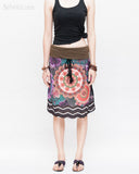 Midi Skirt Bohemian Flora Mandala Gypsy Tribal Folding Waist Drawstring Tassels Colorful Boho Chic ZigZag Design front