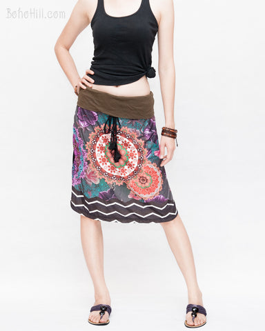 Midi Skirt Bohemian Flora Mandala Gypsy Tribal Folding Waist Drawstring Tassels Colorful Boho Chic ZigZag Design relax