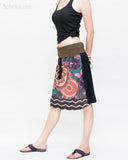 Midi Skirt Bohemian Flora Mandala Gypsy Tribal Folding Waist Drawstring Tassels Colorful Boho Chic ZigZag Design side
