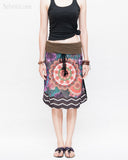Midi Skirt Bohemian Flora Mandala Gypsy Tribal Folding Waist Drawstring Tassels Colorful Boho Chic ZigZag Design straight