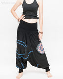 Modern Tribal soft Stretch Jersey Cotton Baggy Aladdin Pants Black Mandala Lotus flexible shirred waist cuff leg female front