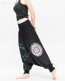 Modern Tribal soft Stretch Jersey Cotton Baggy Aladdin Pants Black Mandala Lotus flexible shirred waist cuff leg female side
