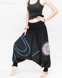 Modern Tribal soft Stretch Jersey Cotton Baggy Aladdin Pants Black Mandala Lotus flexible shirred waist cuff leg female side3