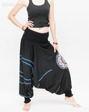 Modern Tribal soft Stretch Jersey Cotton Baggy Aladdin Pants Black Mandala Lotus flexible shirred waist cuff leg female side2