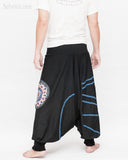 Modern Tribal soft Stretch Jersey Cotton Baggy Aladdin Pants Black Mandala Lotus flexible shirred waist cuff leg male back