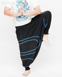 Modern Tribal soft Stretch Jersey Cotton Baggy Aladdin Pants Black Mandala Lotus flexible shirred waist cuff leg male dance