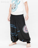 Modern Tribal soft Stretch Jersey Cotton Baggy Aladdin Pants Black Mandala Lotus flexible shirred waist cuff leg male side