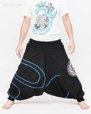 Modern Tribal soft Stretch Jersey Cotton Baggy Aladdin Pants Black Mandala Lotus flexible shirred waist cuff leg male wide