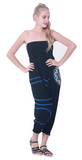 Modern Tribal soft Stretch Jersey Cotton Baggy Aladdin Pants Black Mandala Lotus flexible shirred waist cuff leg romper