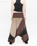 Modern Tribal soft Stretch Jersey Cotton Baggy Aladdin Pants Brown Mosaic flexible shirred waist cuff leg female back