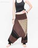 Modern Tribal soft Stretch Jersey Cotton Baggy Aladdin Pants Brown Mosaic flexible shirred waist cuff leg female front2