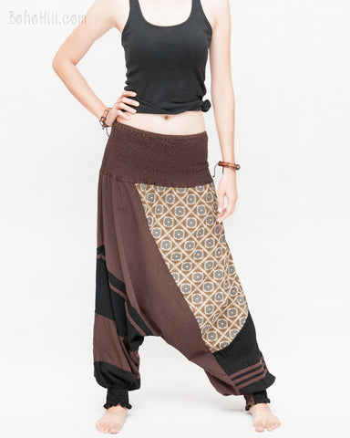 Modern Tribal soft Stretch Jersey Cotton Baggy Aladdin Pants Brown Mosaic flexible shirred waist cuff leg female front