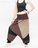 Modern Tribal soft Stretch Jersey Cotton Baggy Aladdin Pants Brown Mosaic flexible shirred waist cuff leg female side2