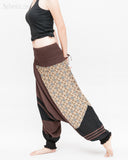 Modern Tribal soft Stretch Jersey Cotton Baggy Aladdin Pants Brown Mosaic flexible shirred waist cuff leg female side