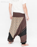 Modern Tribal soft Stretch Jersey Cotton Baggy Aladdin Pants Brown Mosaic flexible shirred waist cuff leg male back