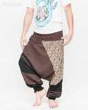 Modern Tribal soft Stretch Jersey Cotton Baggy Aladdin Pants Brown Mosaic flexible shirred waist cuff leg male relax