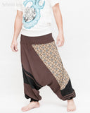 Modern Tribal soft Stretch Jersey Cotton Baggy Aladdin Pants Brown Mosaic flexible shirred waist cuff leg male side