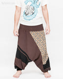 Modern Tribal soft Stretch Jersey Cotton Baggy Aladdin Pants Brown Mosaic flexible shirred waist cuff leg male wide