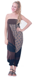 Modern Tribal soft Stretch Jersey Cotton Baggy Aladdin Pants Brown Mosaic flexible shirred waist cuff leg romper