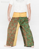 Monk Yogi Rustic Nepali Om Fisherman Pants Indian Patchwork Trousers Yellow Trim OMF-10 back
