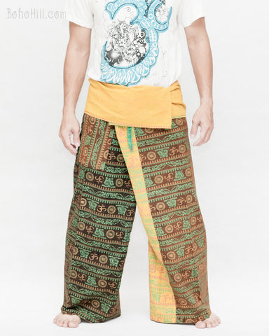 Monk Yogi Rustic Nepali Om Fisherman Pants Indian Patchwork Trousers Yellow Trim OMF-10 front