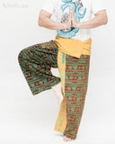 Monk Yogi Rustic Nepali Om Fisherman Pants Indian Patchwork Trousers Yellow Trim OMF-10 namaste