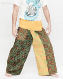 Monk Yogi Rustic Nepali Om Fisherman Pants Indian Patchwork Trousers Yellow Trim OMF-10 right