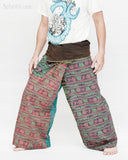 Nepali Om Yoga Stonewashed Rustic Cotton Fisherman Pants Patchwork Trousers OMF-2 left