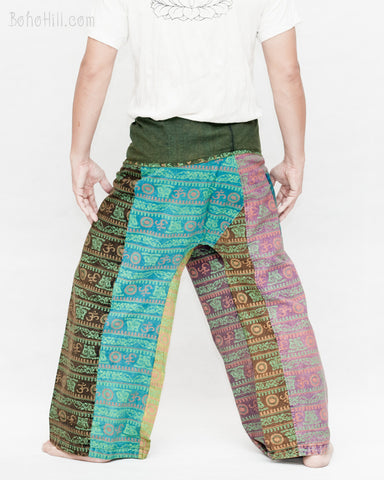 Nepali Om Yoga Stonewashed Rustic Fisherman Pants Patchwork Wrap Trousers OMF-11 back