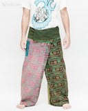 Nepali Om Yoga Stonewashed Rustic Fisherman Pants Patchwork Wrap Trousers OMF-11 front