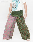Nepali Om Yoga Stonewashed Rustic Fisherman Pants Patchwork Wrap Trousers OMF-11 left
