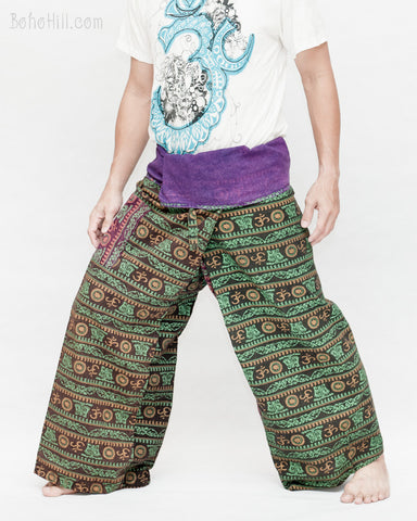 Om Stonewashed Nepali Fisherman Pants Wrap around Unique Hindu Yoga Patchwork Trousers OMF-1 left