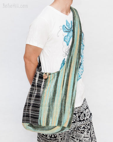 One of A Kind Handwoven Cotton Purist Hippie Patchwork Unique Sling Shoulder Bag Green MB-S7 front