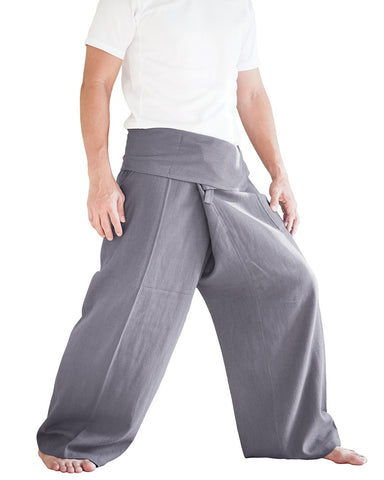 Organic Cotton Thai Fisherman Pants Plain Color Gray soft wrap around zen meditation trousers minimalist grey side