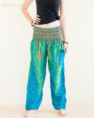 Peacock Feather Design Rayon Aladdin Yoga Pants High Cut Smocked Waist Sky Blue front