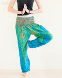 Peacock Feather Design Rayon Aladdin Yoga Pants High Cut Smocked Waist Sky Blue namaste