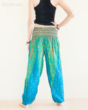 Peacock Feather Design Rayon Aladdin Yoga Pants High Cut Smocked Waist Sky Blue rear