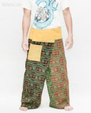 Rustic Stonewashed Nepali Cotton Om Fisherman Pants Zen Monk Patchwork Trousers OMF-12 front
