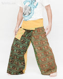 Rustic Stonewashed Nepali Cotton Om Fisherman Pants Zen Monk Patchwork Trousers OMF-12 left
